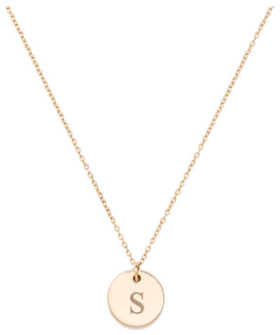SOPHIE RATNER Engraved Initial Diamond Pendant Necklace
