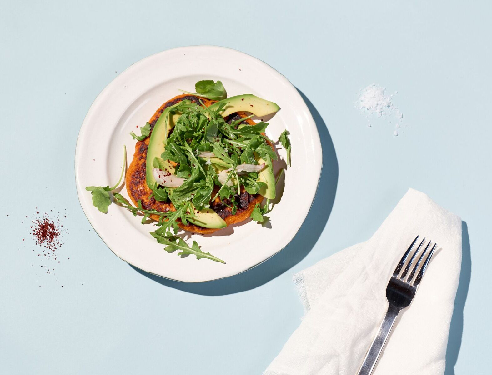 Savory Sweet Potato Pancake with Arugula Salad