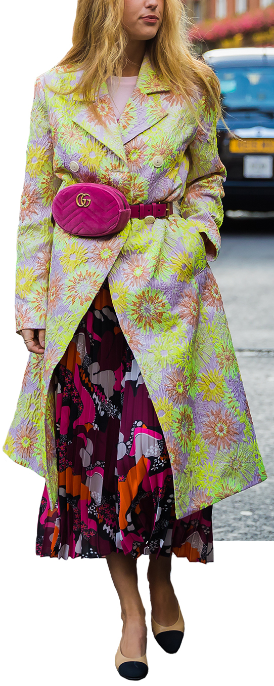 Model wearing floral prints