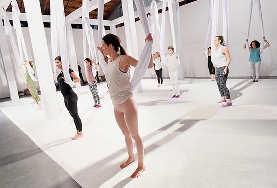 Lululemon aerial yoga class