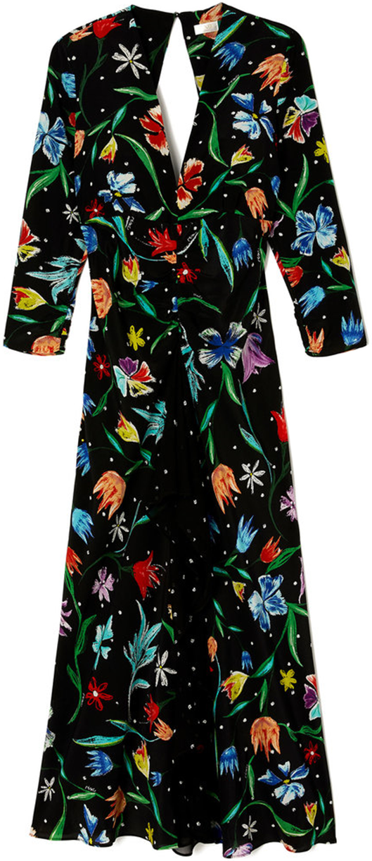 RIXO LONDON long black floral long sleeve dress