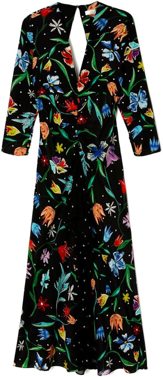 RIXO LONDON long black floral long sleeve dress