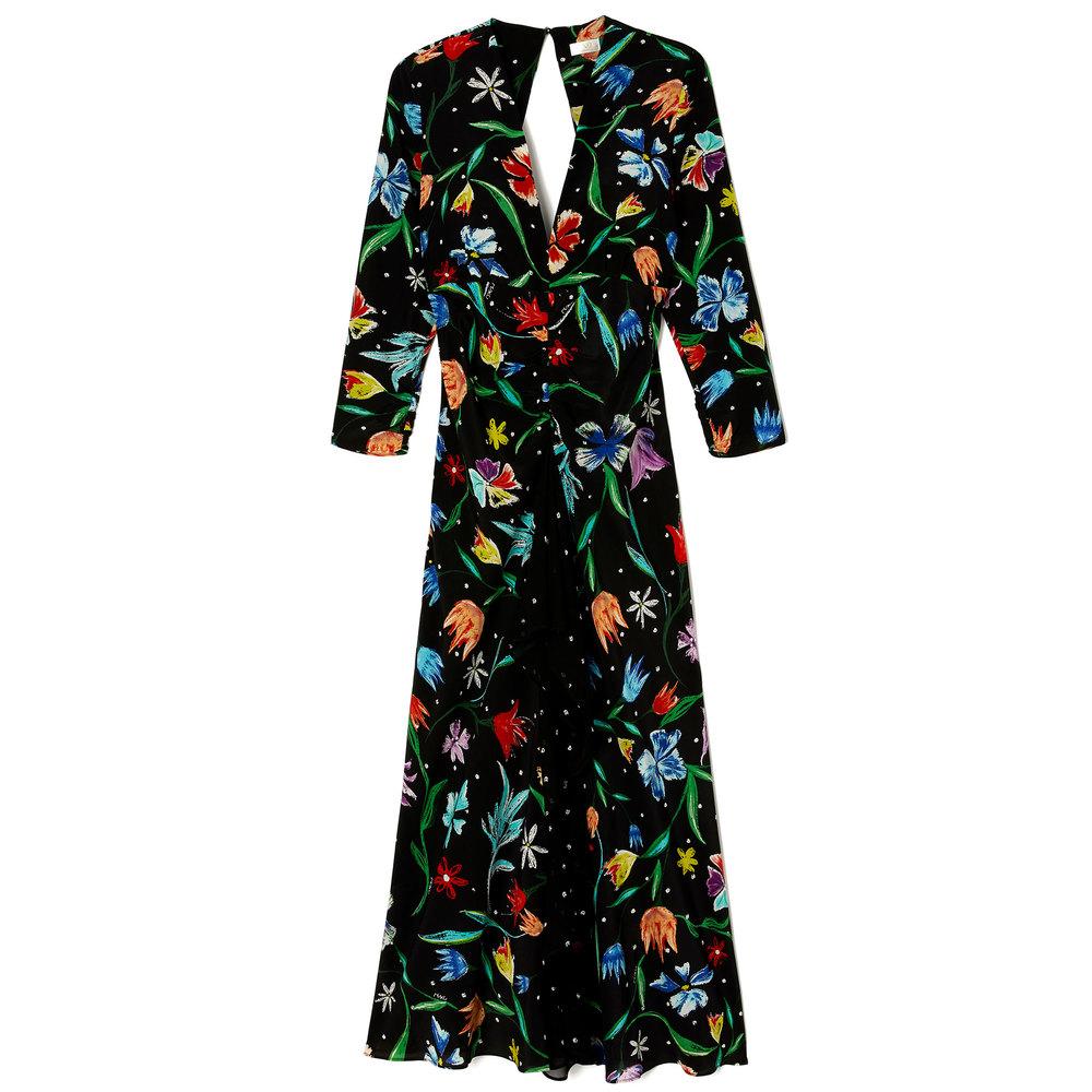 RIXO LONDON black floral dress