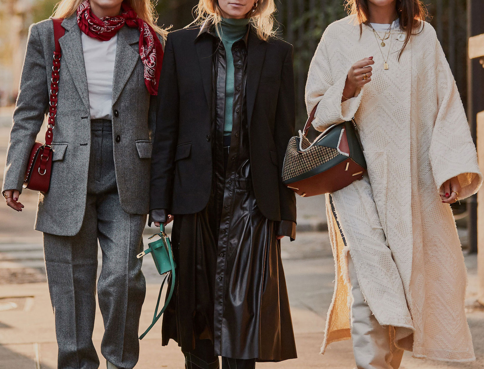Three Women Walking in Fall Outfits