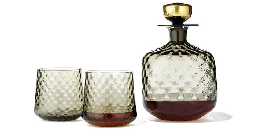 DECICIO GLASS Handblown Decanter with 24K Gold Leaf Stopper and handblown whiskey glass