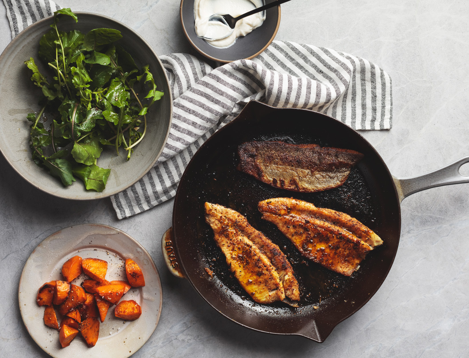 Blackened Trout with Roasted Sweet Potatoes and Arugula Salad