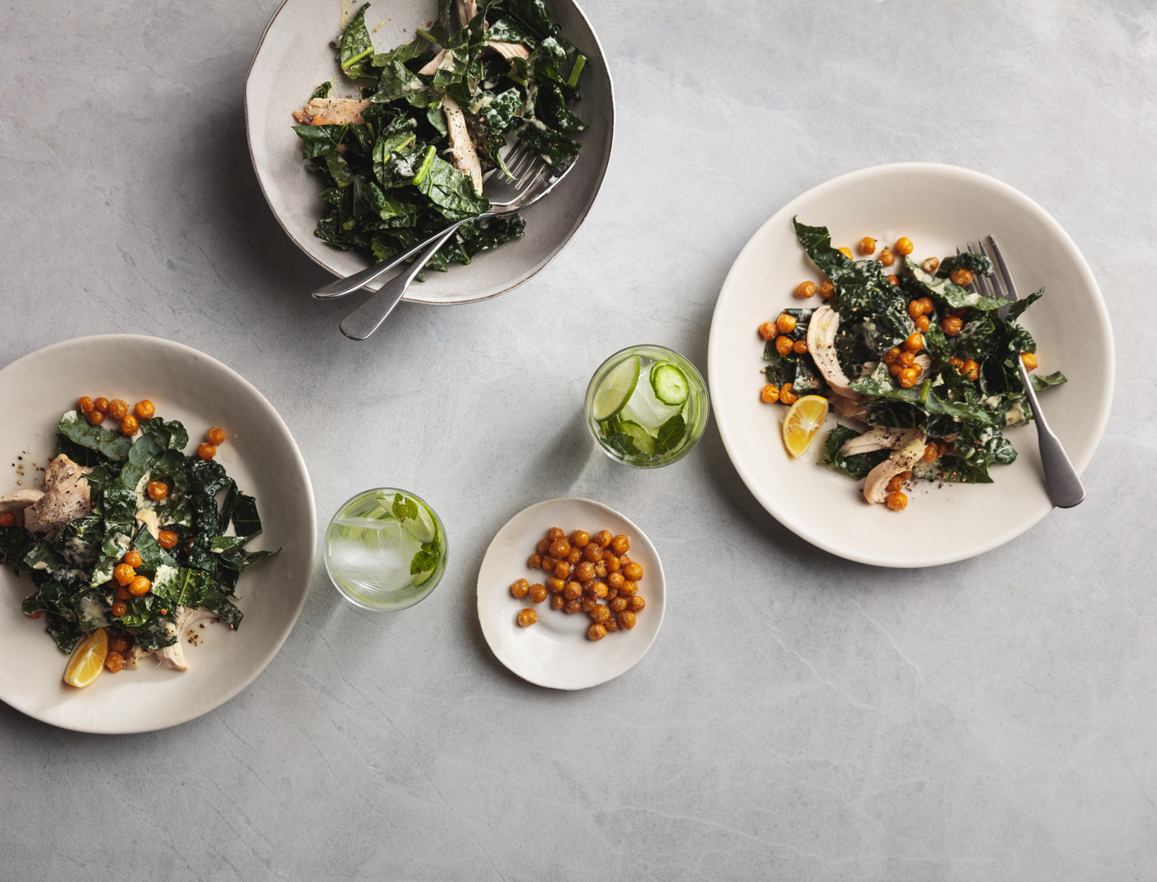 Kale Caesar with Chicken and Crispy Chickpeas