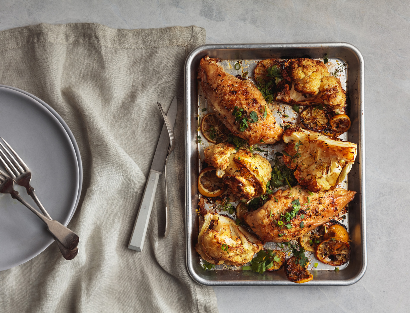 Roasted Chicken and Cauliflower with Herb Salad