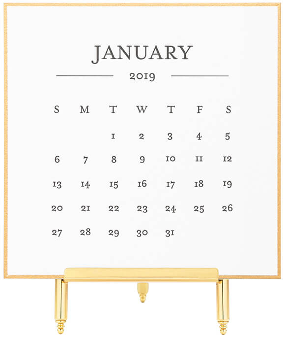 SUGAR PAPER 2019 Classic Black and Gold Desk Calendar