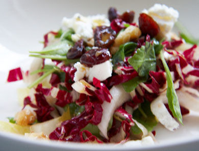 Greens with Goat Cheese, Walnuts & Dried Cranberries