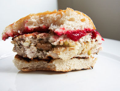 Stuffed Turkey Burgers with Cranberry Ketchup