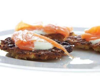 Potato & Apple Latkes with Smoked Salmon