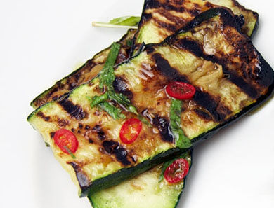 Grilled Zucchini with Mint & Chili