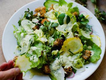 Late Summer Chicory Salad with Seeded Whole-Wheat Croutons