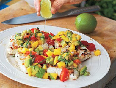 Grilled Halibut with Mango-Avocado Salsa | Goop