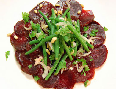 Beet Carpaccio with Marinated Bean Salad