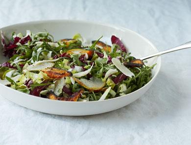 Winter Greens, Kabocha Squash & Peeled Pear Salad