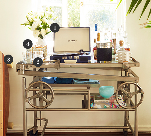 Bar Cart, French Crank-Lift Bar Cart
