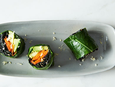 Collard Roll-Ups with Coconut Curry Kale