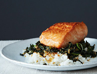 Crispy Coconut Kale with Roasted Salmon