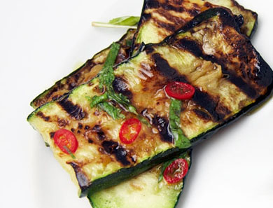 Grilled Zucchini with Mint & Red Chili