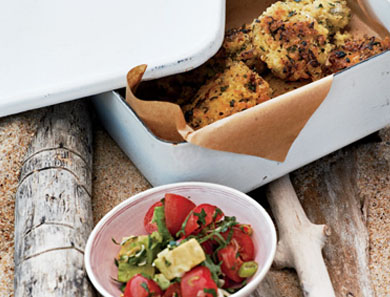 "Millet ""Falafel"" with Avocado + Tomato Relish"