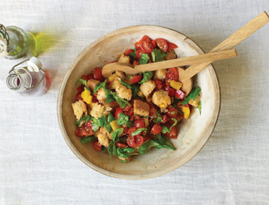 PANZANELLA WITH ROASTED PEPPERS, TOMATOES & BASIL_390x297