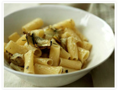 QUINOA RIGATONI WITH ARTICHOKES & FRIED ROSEMARY_390x297