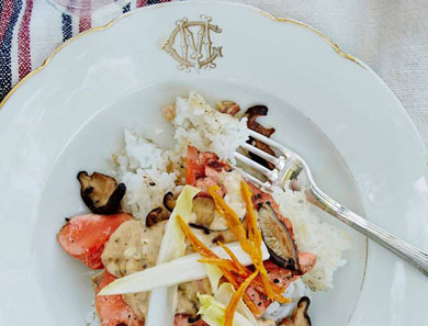 RICE BOWL WITH SALMON, ENDIVE, SHIITAKE, AND TASSO RÉMOULADE_390x297