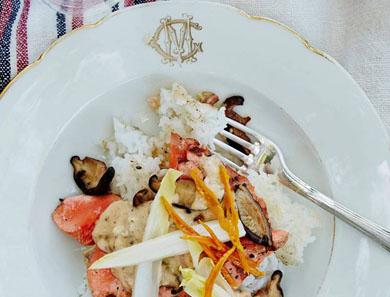 Rice Bowl with Salmon, Endive, Shiitake, and Tasso Rémoulade