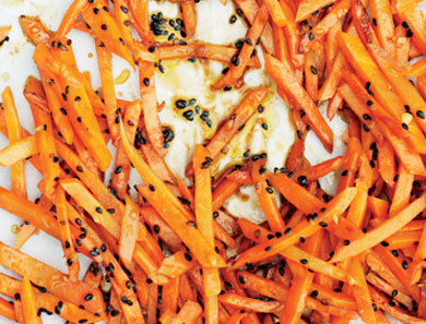 ROASTED CARROTS WITH MUSTARD GREENS GREMOLATA_390x297
