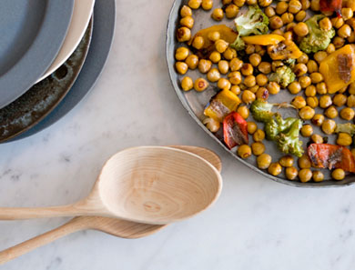 ROASTED CHICKPEAS WITH ROMANESCO, PEPPERS + ANCHOVIES_390x297