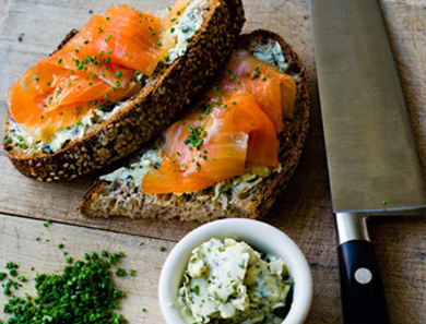 Smoked Salmon with Herb Butter