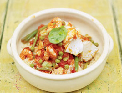 Spicy Moroccan Stewed Fish with Couscous