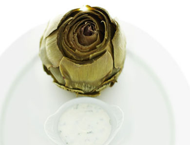 STEAMED ARTICHOKES WITH CHEAT'S AIOLI_390x297