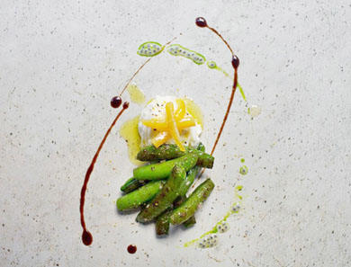 SUGAR SNAP PEAS, BURRATA, BOTTARGA & MEYER LEMON_390x297
