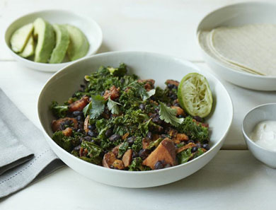 SWEET POTATO, BLACK BEAN & KALE SKILLET_390x297