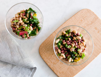 Three Bean Salad with Sautéed Chard