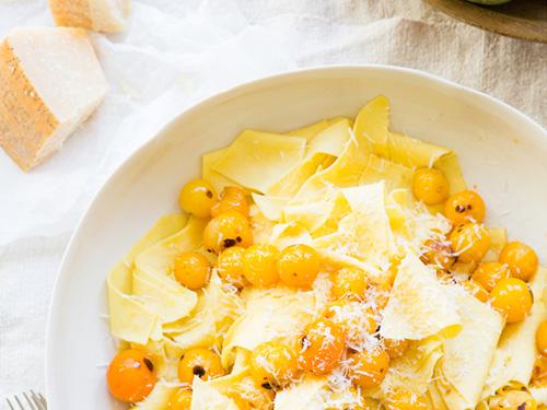 Maltagliati, Sungold Tomato, Parmigiano