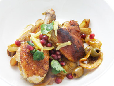 Chicken with Onions, Lemon and Saffron
