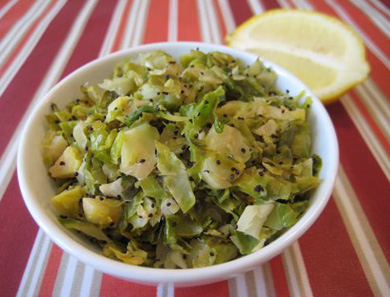 Shredded Brussels Sprouts with Lemon & Poppy Seeds