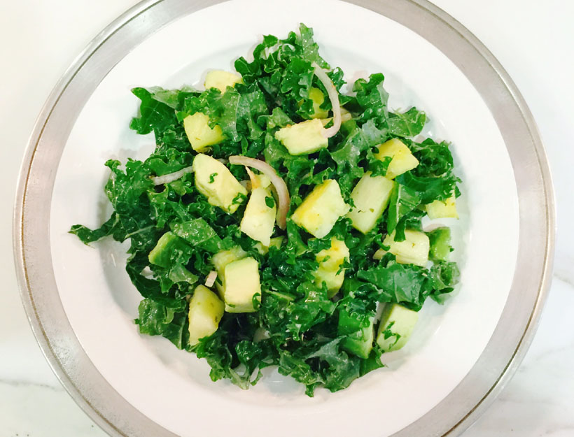 Pineapple-Avocado Salad with Kale and Red Onion