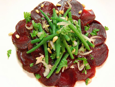 Clean Beet Carpaccio with Marinated Bean Salad