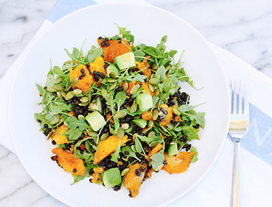 Braised Lentil Salad with Roasted Carrots, Arugula & Avocado