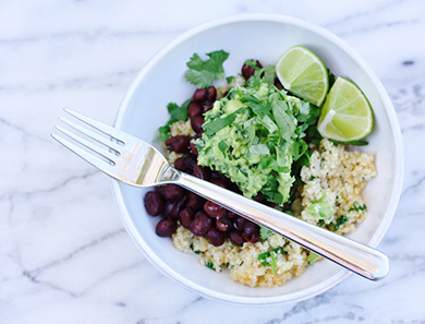 Cauliflower Black Bean Bowl with Kale Guacomole