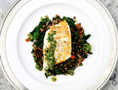 Seared Halibut with Lentils, Kale, and Salsa Verde