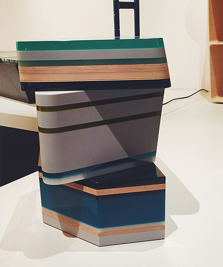 Gemstone side tables by Hella Jongerius at Galerie Kreo.
