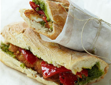 Chicken Cutlet Baguette with Roasted Peppers and Pesto