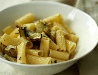 Quinoa Rigatoni with Artichokes & Fried Rosemary
