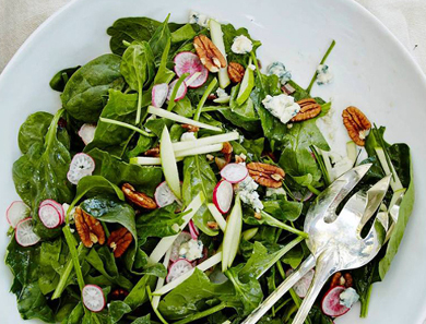 Spinach Salad with Spiced Pecans, Lamb Bacon, Clemson Blue Cheese, and Bourbon Vinaigrette